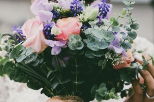 Modrá svatební kytice