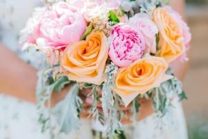 Oranžová svatební kytice