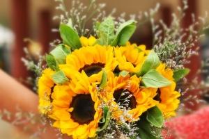 Žlutá svatební kytice