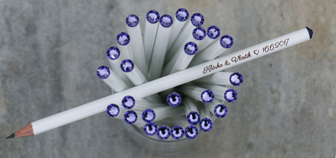 Svatební tužky - Swarovski (modré)
