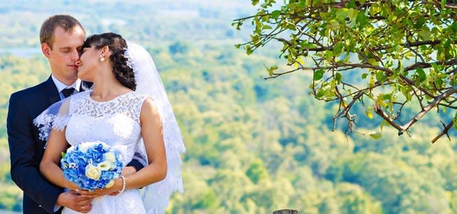 Modré svatební květy