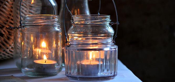 Přírodní svatba - svíčky