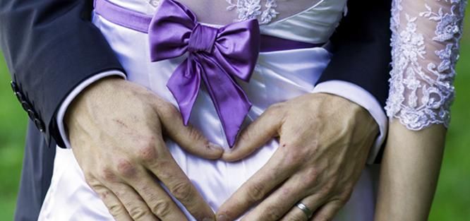 Fialová svatba - stuha
