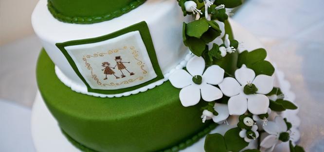 Zelená svatba - dort