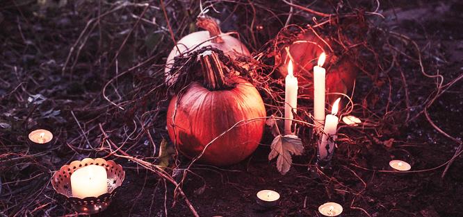 Dýně na svatbě - svíčky