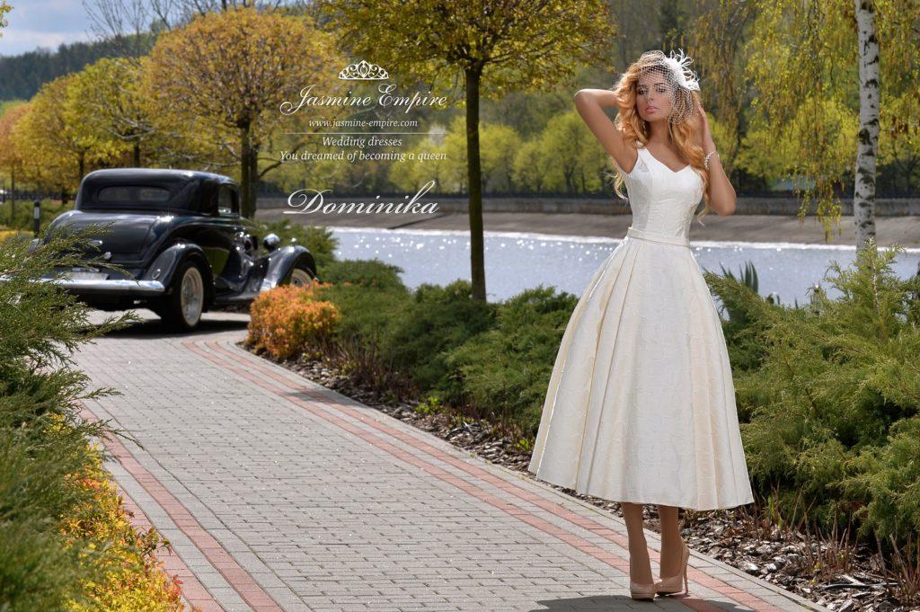 Áčkové svatební šaty – krátké