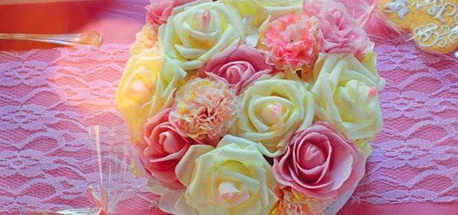 Umělá svatební kytice – látková